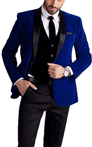 Men's One Button Royal Blue Suit Velvet Jacket Black Vest Pants Wedding Suits Groom Tuxedos Royal Blue 40 Chest / 34 Waist