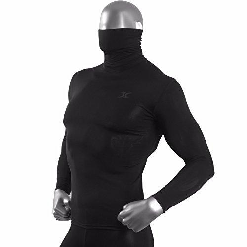 Hom T-shirt thermique à col roulé et manches longues pour homme, noir - Noir - Medium