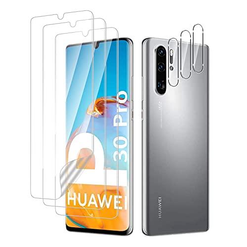 TUTUO Schutzfolie Kompatibel mit Huawei P30 Pro Folie(3 Stück)+ Kamera Panzerglas(3 Stück), HD Klar, Kratzen, Blasenfrei,Blasenfrei Kameraschutz Folie Soft HD TPU Klar Bildschirmschutz
