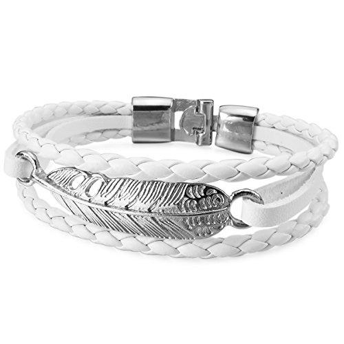 MunkiMix Metalllegierung Legierung Leder Armband Armreifen Kordelkette Weiß Silber Ton Engel Flügel Engelsflügel Herren,Damen