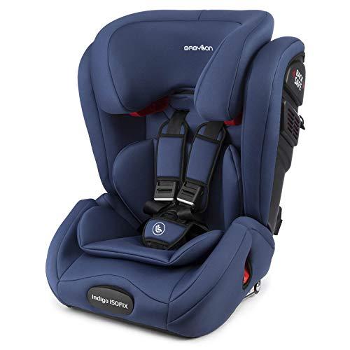 BABYLON isofix universal para coche Indigo Isofix silla coche 1/2/3, silla bebe coche para Niños 9-36 kg (1 a 12 años). silla coche bebe ECE R44 /04 azul