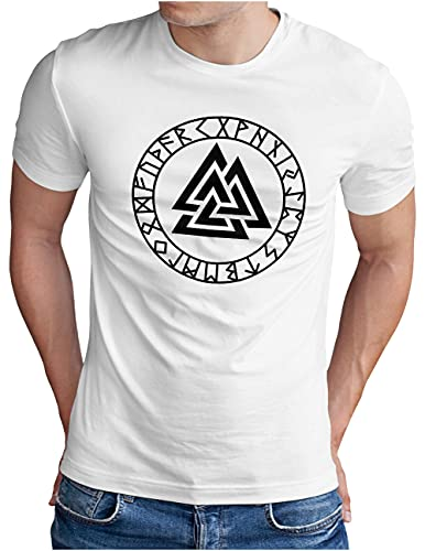 OM3® Valknut-Vikings-Symbol T-Shirt | Herren | Wotansknoten Runen Wikinger Logo Nordic Warrior | Weiß, S