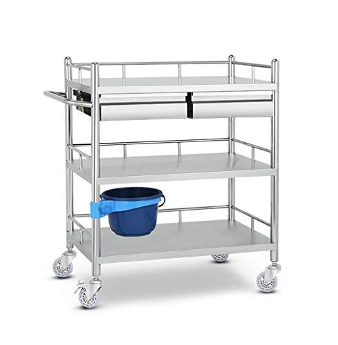 Bollerwagen 3-Shelf Medical Nurse Speicher-Laufkatze mit 2 Fächern, Edelstahl-Gebrauchslaufkatze für Laborausrüstungs-Laufkatze-Speicher-Schönheits-Service-Laufkatze