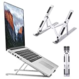 Laptop Stand, Foldable Portable Laptop Holder Tablet Stand, 6 Angles Adjustable Aluminum Ergonomic Desktop Riser Compatible with MacBook,iPad, HP, Dell, Lenovo 10-15.6', Silver
