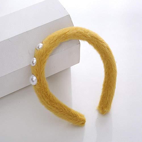 Accessoires pour cheveux Couleur simple simple en peluche perle cheveux cerceau fille sauvage bandeau-Trois perles-jaune