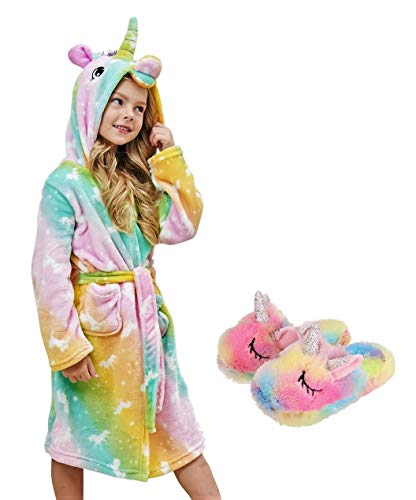 HulovoX Unicorn Hooded Bathrobe with Slippers, Unicorn Gifts for Girls (Orange Green, 10-11 Years)