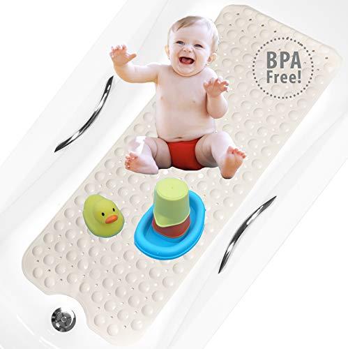 bisoo BPA Free 40x100 cm Alfombra Bañera Antideslizante Infantil Extra Larga para Baño de Niños Bebes y Ducha Infantil - Libre de BPA - Alfombrilla Baño con Tratamiento Antibacteriano (Arena)