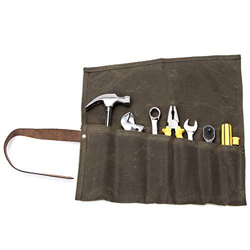 QEES Werkzeugtasche Wasserdichte Handgefertigte Rolltasche (6 Fächer) tragbare Aufbewahrungstasche Für Handwerker Elektriker Maler Künstler (HYGJB21-Grün)