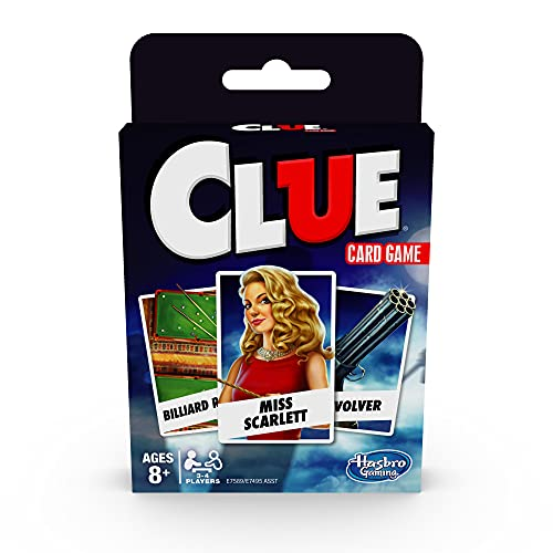 Hasbro Gaming Clue Card Game for Kids Ages 8 & Up, 3-4 Players Strategy Game
