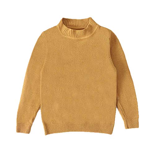 Autumn Winter Baby Girls Boys O-Neck Sweaters Knit Pullover Solid Sweater Tops Earthy Yellow 4T