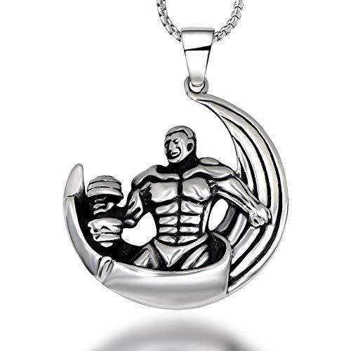 SWEETQT Accesorios de joyería Tendencia Personalidad Joyería Acero de Titanio Hércules Colgante de Levantamiento de Pesas Colgante de Hombre (con Cadena)
