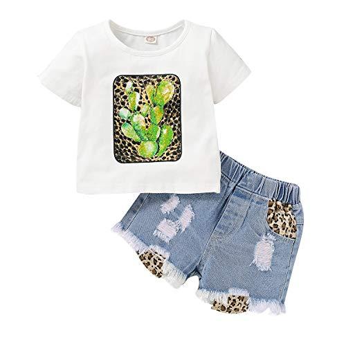 Haokaini Kleinkind Kinder Mädchen Outfits Kurzarm T-Shirt mit Leopardenmuster Und Lochshorts