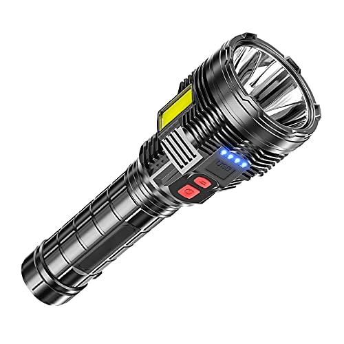 Linterna LED Alta Potencia, 639A Portátil Linterna, IPX6 Impermeable, 6 Modos De Luz, Para Reparación Del Coche, Y Emergencia, Ciclismo, Camping, Montañismo