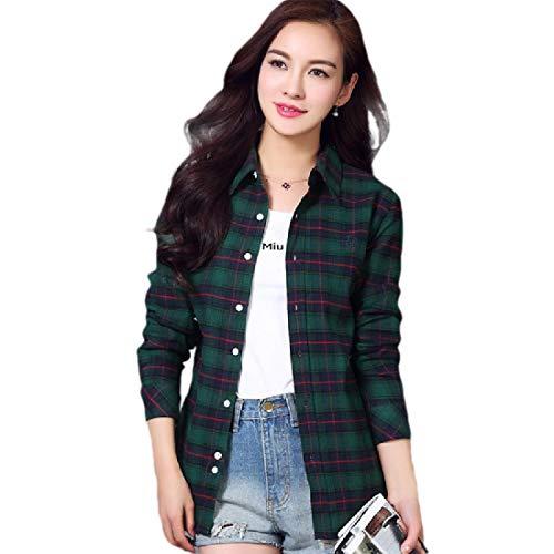 CuteRose Women's Plaid Slim Button Long Sleeve Cotton Casual Leisure T-Shirts Green L