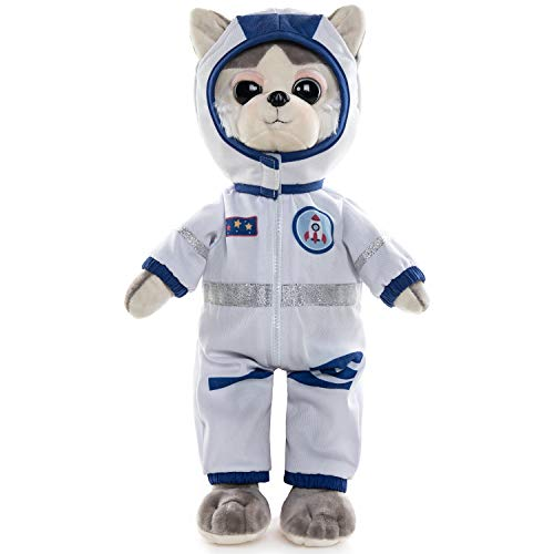 Rakki Dolli Plush Husky Dog Dressed in Lovely Cloth Grey Dog Plush Toy Dolls with Astronaut Clothes Holiday