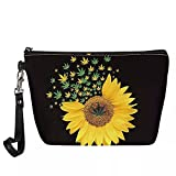 Roomy Toiletry Makeup Bag Sunflower with Palm Leaves Portable Train Cosmetic Case Water-resistant Leather Cosmetic Pouch for Purse with Removable Wristlet Handle