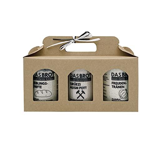 Geschenkbox - 3 x DAS BROT AUS DEM GLAS Backmischung im Glas = Backform: Einweihung, Umzug, Geschenk