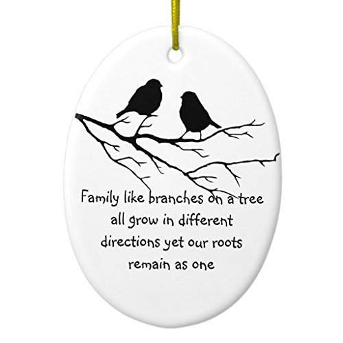 Neuheit Weihnachten Baum Decor Family Like Branches on a Tree Spruch Vögel Keramik Ornament, oval Weihnachtsschmuck Ornament Crafts