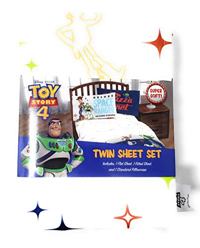 Toy Story 4 Bedding Twin Sheet Set - 3 Pieces - 100% Polyester - for Boys or Girls