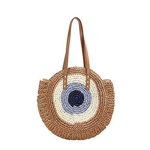 Millont - Bolso de mimbre para la playa, diseño bohemio de paja para mujer o niña, ideal para viajar, Marrón (marrón), 44x41x4cm