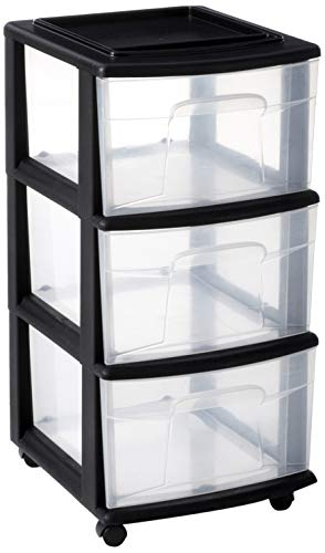 Homz 3-Drawer Storage Cart, 12.5 x 14.2 x 25.5 Inches, Casters Included, Black