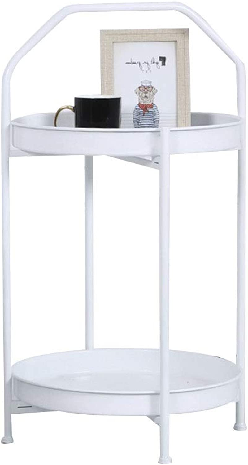 Coffee Table Side Table, Double Shelf Iron Bracket Open Storage Easy to Move with Handle Simple Corner Table Small Coffee Table (Size   45  45  77cm)