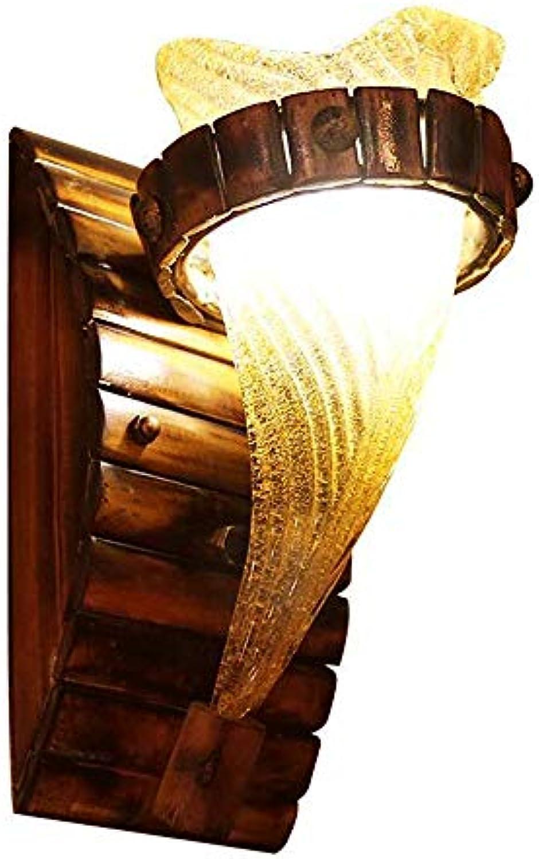 Unbekannt Amerikanische Landbettzimmerlampe Schlafzimmer-Lampe Gang Cafe Bambus-Lampe Lampe kreative antike Wandleuchte (Farbe  Braun, Gre  13  27cm)