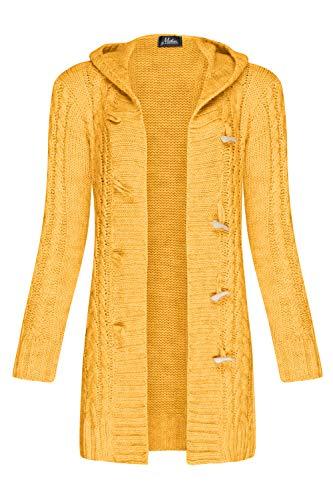 Mikos* Damen Strickjacke Warm WolleCardigan Winter Herbst Langarm Strickmantel mit Kapuze (951) (Curry, XL)
