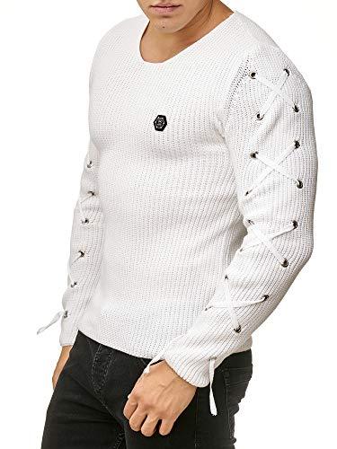 Red Bridge Pulóver de Punto Básica Cuello Redondo de Hombre Suéter Cordón Atada Moda Sudadera Blanco (Ropa)