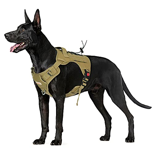 """BABYLTRL Tactical Dog Harness for Large Medium Small Dogs, No Pull Dog Walking Training MOLLE Vest with Handle, Reflective K9 Military Service Dog Harness, Coyote Brown, L,Chest(24-37"""")"""
