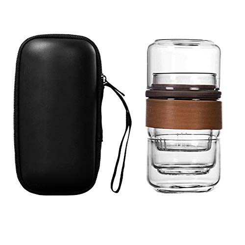 MEGA Travel Tea Set Portable All-in-One Glass Teapot with Infuser and Carrying Bag Brown