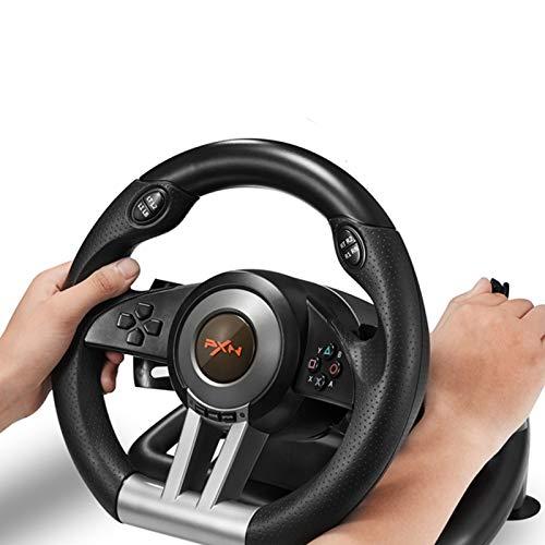 MXMYFZ Racing USB-Lenkrad, PC-Auto-Fahrsimulator, kompatibel mit Windows PC / PS3 / PS4 / Xbox-One/Switch