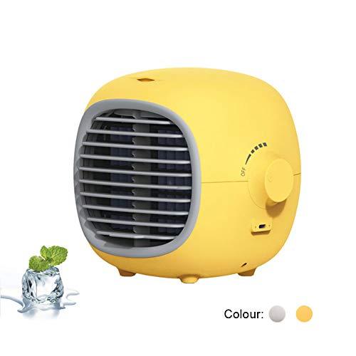 LWJH Aire Acondicionado Portátil, Ventilador Aire Acondicionado, Humidificador Y Purificador, Móvil, Pequeño, Electric, Silencioso, Comlife, Air Cooler Fan, para Hogar Oficina Acampada,Amarillo