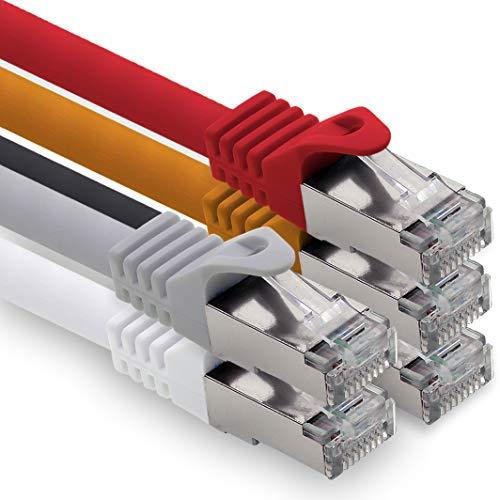 0,25m - 5 Farben 01 CAT.7 Computer Ethernet Kabel Netzwerkkabel (Rohkabel) Patchkabel S-FTP LSZH PIMF 10GB s RJ45 Stecker Cat6a