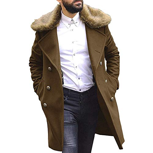 Trench coat da uomo elegante con collo in pelliccia sintetica rimovibile Soprabito invernale doppiopetto Cappotto lungo da pisello caldo