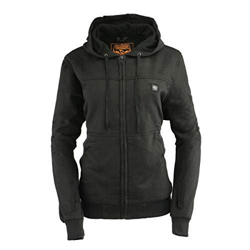 Milwaukee Leather MPL2717DUAL Women's Black 'Heated' Zipper Front Hoodie (Battery Pack Included) - Small