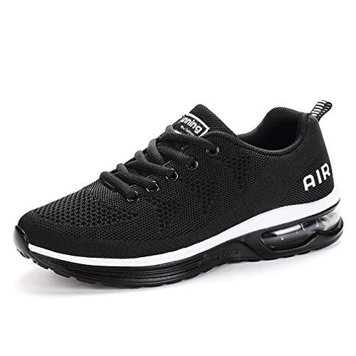 Monrinda Unisex Zapatillas de Deporte Mujer Deportivo Zapatos para Correr Hombre Runing Sports Trainers Gimnasio Air Cushion Blackwhite 41EU