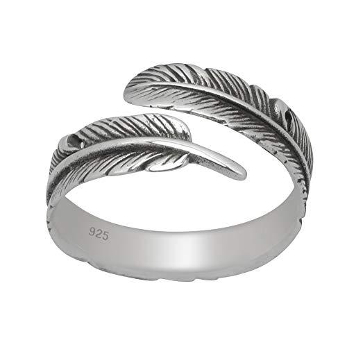 schmuxxi Feder Damenring Verstellbar 925 Silber Ring Offener Damen Silberring von 16mm bis 19mm