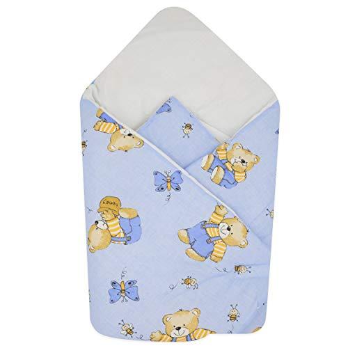BlueberryShop Fleece Wickeldecke zum Auto | Schlafsack für Neugeborene von 0 bis 3 Monaten für Kinderwagen oder Kinderbett | Perfekt als Geschenk für Baby Shower | 78 x 78 cm | Blau Bär