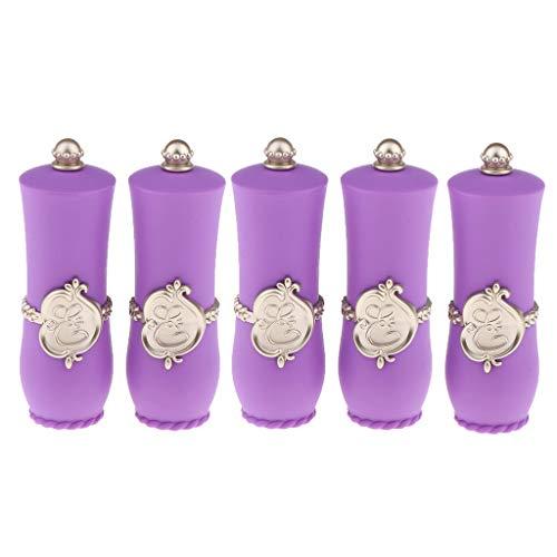 Injoyo 5pcs Tubes De Rouge à Lèvres Vides En Plastique Supports De Bricolage Rechargeables Rose/Violet - Violet