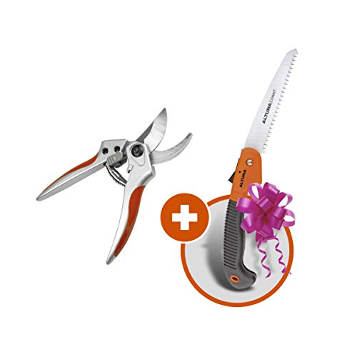 Altuna Professional Yard Tool Bypass Pruning Shears and Folding Blade Hand Saw Promo Set for Gardening and Landscaping Branches Stems Plants Flowers Fruits
