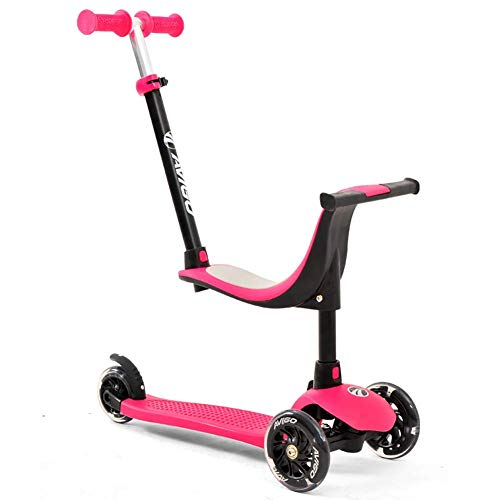 Lj Scooter Outdoor Sports Scooter Kick, 3-In-1 Kick With Detachable Seat, Adjustable With Lighted Pu Wheel Rear Brake, Aged For Girls 1+, 50Kg Load Adult Boy And Girl Toy Balance Car Mini, Blue,Rose