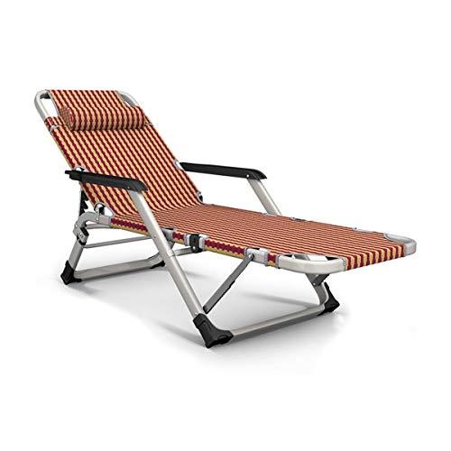 Hzjjc Chaise Longue Pliante Fauteuil Relax Jardin, Transat Bain de Soleil Inclinable Zéro Gravité Chaise Lit Confortable pour Camping Exterieur Balcon, Charge Maximale: 150 kg (Color : Red)