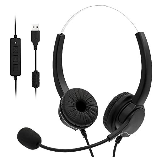 BENEWY USB Headset Stereo mit Noise Cancelling Mikrofon und Lautstärkeregler, PC Kopfhörer für Business Skype UC SoftPhone Call Center, Kristallklarem Chat, Superleicht, Ultra Komfort