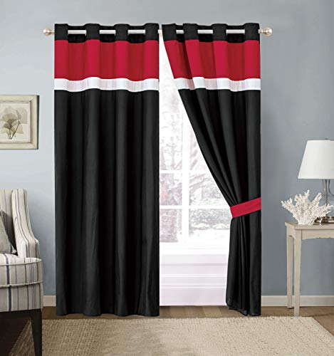 """Modern 4 - Piece Color Block Burgundy, Red, Black, White Grommet Curtain Set Drapes/Window Panels 120"""" Wide X 84"""" Tall"""