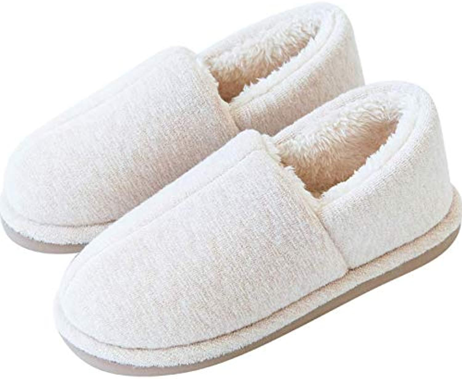 Winter Warm Home Slipper with Soft Cotton Lining, Elastic shoes for Couple, Eva Anti-Slip Sole, Minimalism Design, 4 Optional color,White,37 38