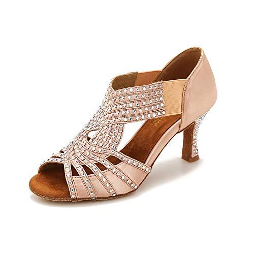 "TTdancewear Ballroom Dance Shoes Women Rhinestone Latin Salsa Dance Shoes Practice Low Heels 2.5"" (8,Nude)"