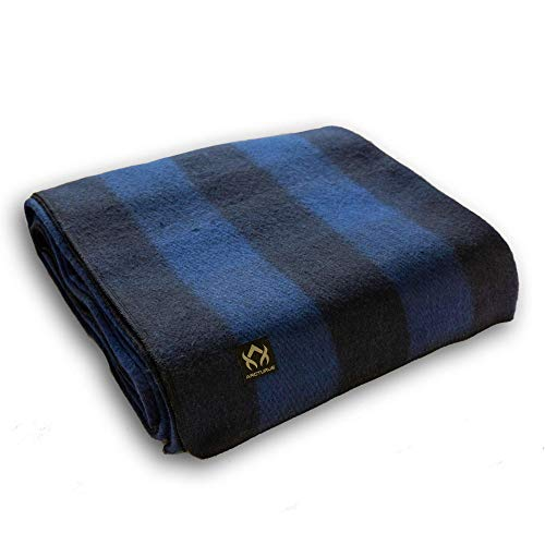 Arcturus Backwoods Wool Blanket - 4.5lbs, Warm, Heavy, Washable, Large | Great for Camping, Outdoors, Survival & Emergency Kits (Blue Buffalo)