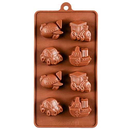 Mancooy Moule à Gâteaux/Cake en Silicone, Mold Cake Decorating Outil,Moule de Cuisson au Chocolat,Figurines pour Gâteaux en Forme de Voiture, Avion, Train (Marron)