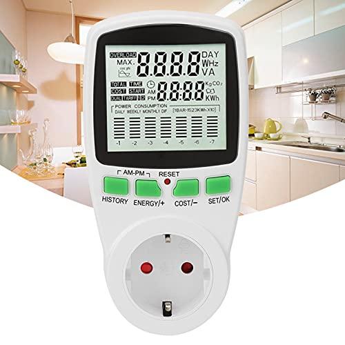 Medidor de potencia, toma de medición de potencia, facturación Toma de medidor multifunción Monitor de energía Enchufe del medidor de potencia 0-16A Monitor inteligente (EU)
